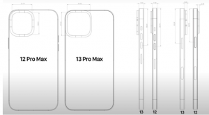 Comparison between leaked iPhone 13 Pro Max and iPhone 12 Pro Max schematics shows size differences