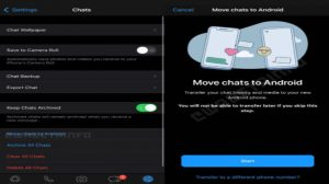 Here's what the new setting to transfer chats from iOS to Android looks like